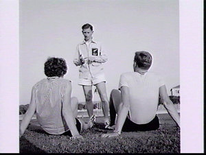 New Zealand track manager J. McManemin (?) instructs athletes Barry Robinson and Val Morgan, Military Stadium, Rome Olympic Games 1960