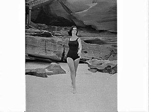 Photographs of a female model in a Jantzen swimsuit taken for Australasian Post, Tamarama Beach