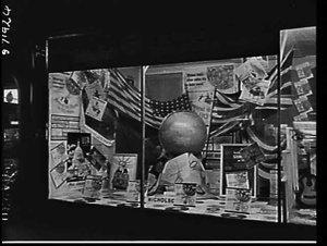 Around the world in 80 days film and soundtrack exhibit in Nicholson's shop window
