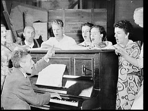 Singers of the National Opera of Australia at a piano rehearsal of Madama Butterfly at Plunkett Street School in Woolloomooloo