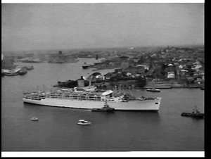 Last sailing of the liner Oronsay from wharf no. 13 Pyrmont photographed from the MSB Tower, Millers Point