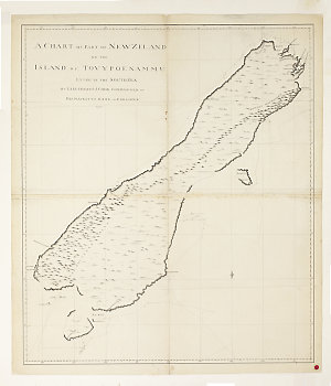 A chart of part of New Zeland of the Island of Tovypoenamm, lying in the South Sea / by Lieutenant J. Cook Commander, of His Majestys Bark the Endeavour.