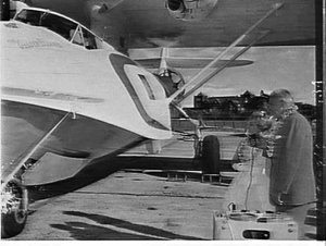 Launch of Airlines of NSW Catalina amphibious aeroplane, The Golden Islander, to be used on the Great Barrier Reef