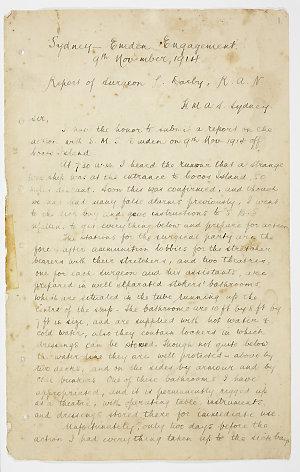 Leonard Darby - Sydney-Emden Engagement 9th November, 1914. Report of Surgeon L. Darby, R.A.N.