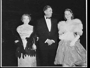 Lord Mayor and Lady Mayoress Jensen, and the Waratah Spring Festival Princess 1958, attend the Royal Ballet at the Empire Theatre