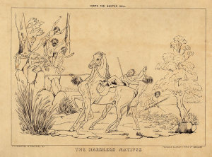 The persecuting white men / The harmless natives [lithographs by George Hamilton of conflict between European and Aboriginal people]