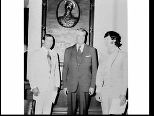 Governor Roden Cutler presents Royal Humane Society awards for bravery to Brian Alan Denyer and Alan wiiliam Dick, Sydney Town Hall