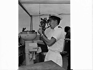 RAN, RNZN and RN exercise, Tasman Sea and Auckland: sub-lieutenant Rod Brown of Wellington takes bearing on the sextant on board Royalist