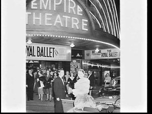 Waratah Spring Festival Princess 1958 arrives in an open car for the Royal Ballet at the Empire Theatre