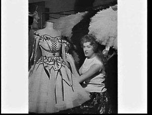 Paula Brown, wardrobe mistress, Royal Ballet, attending to a costume, Empire Theatre, Sydney