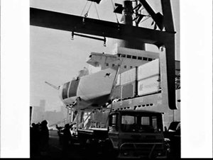 Yachts Impetuous and Ragamuffin being loaded onto the Overseas Containers (OCL) container ship Botany Bay to go to the Admiral's Cup 1979, White Bay
