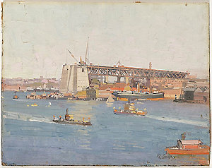 Dawes Point, showing Sydney Harbour Bridge in the course of construction, ca.1927 / oil painting by Herbert R. Gallop