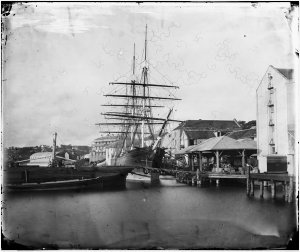 Clipper ship Cape Clear and wharves, Miller's Point-Dawes Point