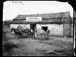 Colonial Produce store and cart loaded with goods, Hill End