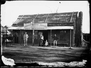 Neil McKinnon's Robert Burns Hotel, showing family with little boy dressed in Scottish tartan kilt, Gulgong