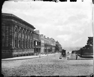 Looking north from Free Public Library (with photographic cart parked outside), Macquarie Street, Sydney