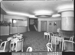 Cloakroom, entrance foyer and bar, Romano's Restaurant (taken for Building Publishing Co)