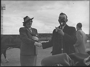 Sports meeting at Sportsground; Mr George Nathan with Gladys Moncrieff