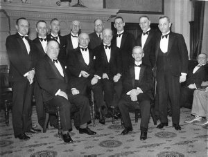 Theatre managers; Bill Szarka (large man) seated left