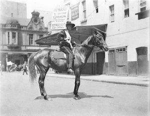 Man dressed as the star, on horseback
