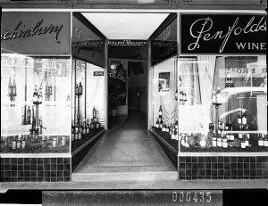 Penfold's Wines display in shop windows of Ralph Bellotti's wine saloon