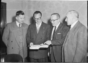 Shortland County Council election: From left to right:  H Troman, Acting County Clerk; Mr Skelton, Chairman; Deputy Chairman, Mr Scott; Chief Electrical Engineer; AS Campbell.