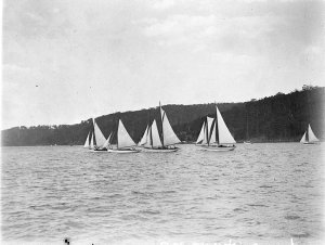 Two gaff-rigged, a ketch and a staysail schooner, in maxi-race