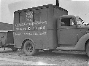 Two Ford mobile cinema units - (nos 28 & 111), gifts from Newcastle through ACF (NSW Div.) & operated by Australian Army Amenities Services (for Miss Davidson, Australian Comforts Fund)