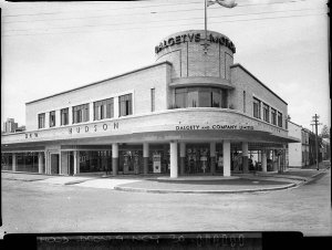 DKW, Hudson and Wolseley car showrooms; corner Cathedral and Riley Streets, Woolloomooloo (for Building Publishing Co)