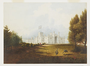 Item 4: [Government House with emus], 1853 / drawn by Jacob Janssen