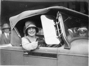 Beryl Mills in her new Chrysler convertible