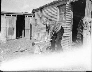 Sam Hood chopping wood