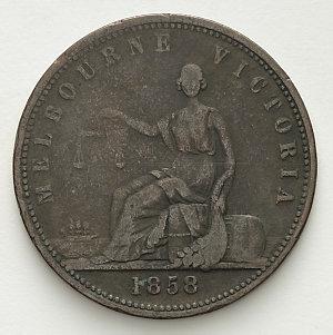 Item 3908: Peace & Plenty penny token, 1858