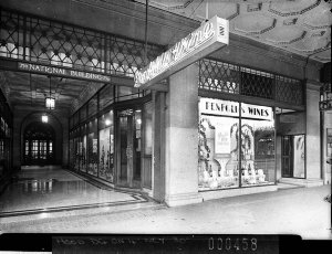 Penfold's Wines display in shop windows of the saloon in the National Building