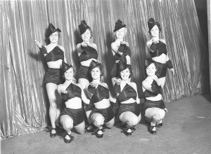 Ballet girls pose for publicity pictures