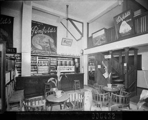Penfold's Wines display in interior of saloon