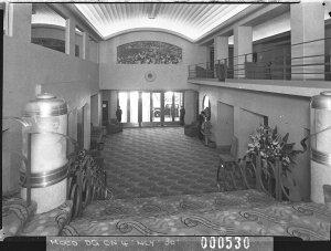 Interior of entrance foyer, Minerva Theatre (taken for Building Publishing Co)