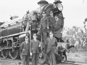 Crew of the royal train in front of one the two 36 class locomotives assigned to Gloucester's Royal Train, 3652