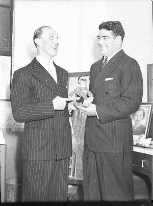 Sammy Stein with George Gee (taken for Stadiums Ltd)