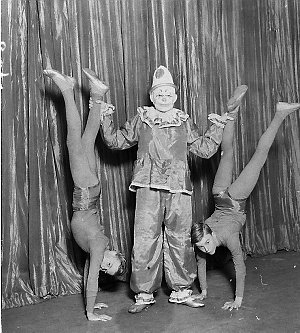 Clown and two boys in publicity pictures