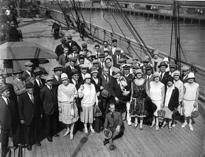 Sir Benjamin Fuller with the Gonsalez Opera Company on the deck of the ship in which they arrived