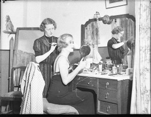 Irene Purcell, star of The Women, in dressing room, Theatre Royal