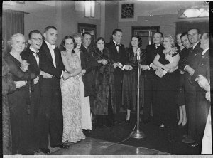 Gladys Moncrieff at 2UW, taken on her birthday (taken for J.C. Williamson Ltd)
