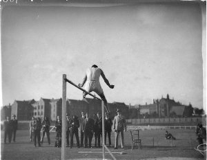 Over the bar, in the high-jump event
