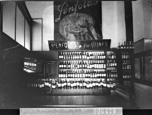 Penfold's Wines display in a wine bar