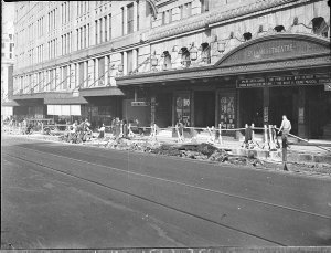Road works in front of the St James Theatre