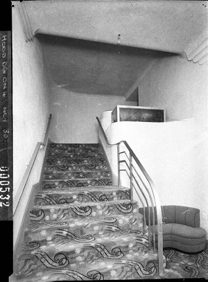 Stairs up to dress circle, Minerva Theatre (taken for Building Publishing Co)