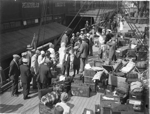 Gonsalez Opera Company and their luggage on the deck of their liner arriving in Sydney