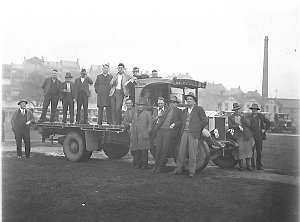 A group of the drivers with one of the Albions of William McKeown Ltd.
