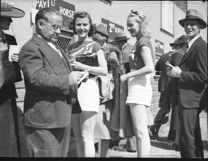 Hollywood Hotel Revue Company girls at Kembla Races (taken for Fuller's Theatres Ltd)
